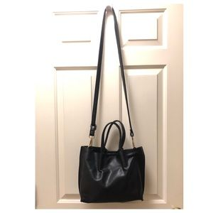 Small vegan leather tote bag